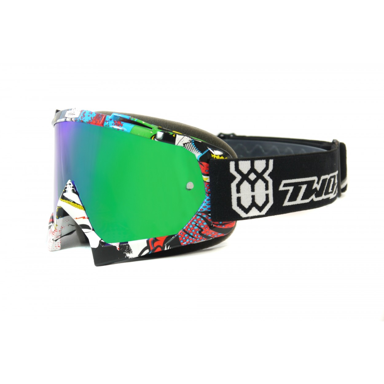 TWO-X Race Crossbrille MX Brille Enduro Motocross grün verspiegelt Graphic