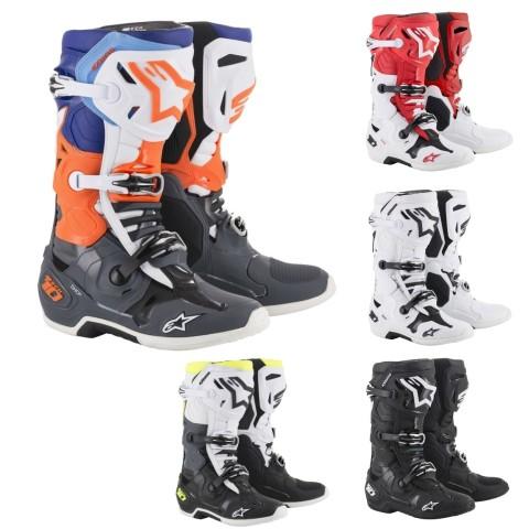 Alpinestars TECH 10 MX Stiefel 2018 in Schwarz, Weiß, Orange, Blau, Rot
