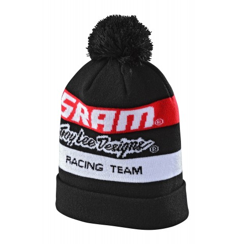 Troy Lee Designs SRAM Racing BLOCK POM Beanie schwarz