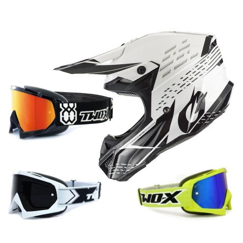 Oneal 5Series Crosshelm Trace schwarz weiss mit TWO-X Race Brille