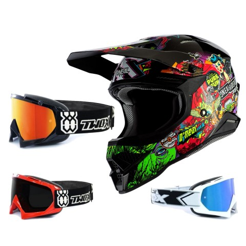 Oneal 3Series Crosshelm Crank 2.0 bunt mit TWO-X Race Brille