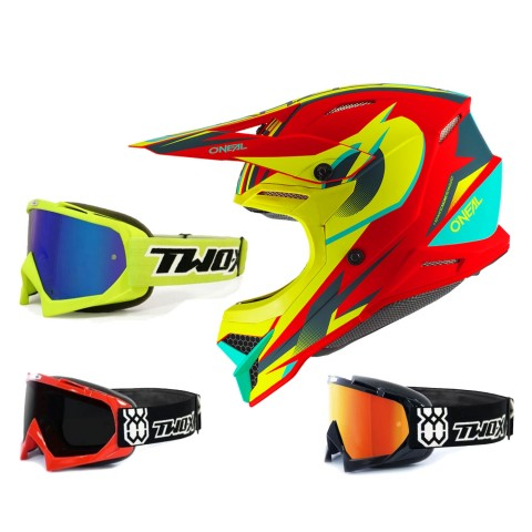 Oneal 3Series Crosshelm Riff 2.0 rot neon gelb mit TWO-X Race Brille