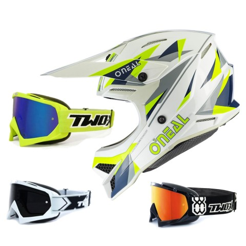Oneal 3Series Crosshelm Triz blau neon gelb mit TWO-X Race Brille