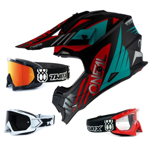 Oneal 2Series Crosshelm Spyde 2.0 schwarz rot mit TWO-X Race Brille