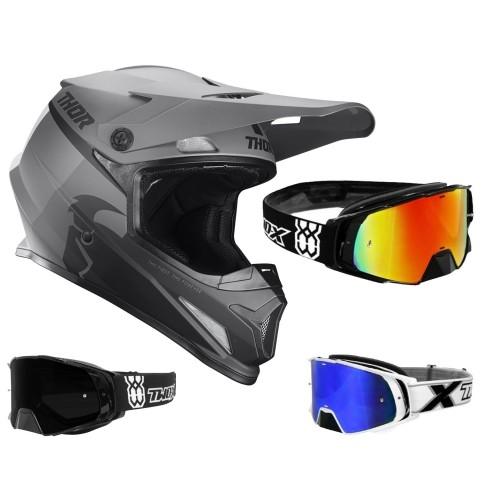 Thor Sector Crosshelm Racer schwarz grau inkl. TWO-X Rocket Crossbrille