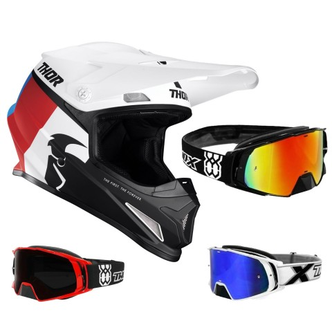 Thor Sector Crosshelm Racer weiss rot inkl. TWO-X Rocket Crossbrille