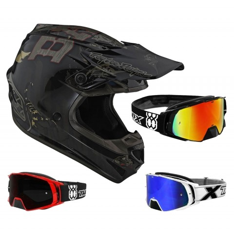 Troy Lee Designs SE4 Baja Crosshelm schwarz mit TWO-X Rocket Crossbrille