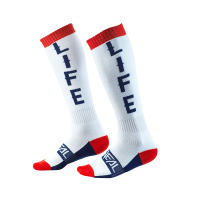 Oneal Pro MX Moto Life Socken weiss rot blau