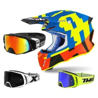Airoh Twist 2.0 Frame Crosshelm blau mit TWO-X Rocket Crossbrille