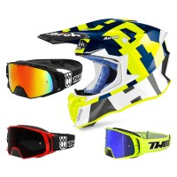 Airoh Twist 2.0 Frame Crosshelm gelb blau mit TWO-X Rocket Crossbrille
