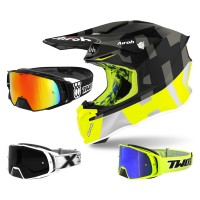 Airoh Twist 2.0 Frame Crosshelm neon gelb grau mit TWO-X Rocket Crossbrille