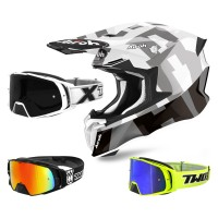 Airoh Twist 2.0 Frame Crosshelm grau mit TWO-X Rocket Crossbrille
