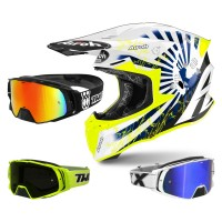 Airoh Twist 2.0 Katana Crosshelm blau mit TWO-X Rocket Crossbrille