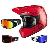 Leatt GPX 3.5 Crosshelm rot schwarz mit TWO-X Rocket Crossbrille