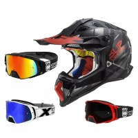 LS2 Crosshelm MX470 Subverter Troop schwarz rot  mit TWO-X Rocket Crossbrille