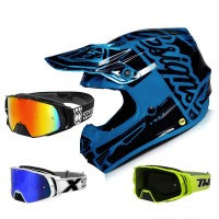 Troy Lee Designs SE4 Factory MIPS Crosshelm blau mit TWO-X Rocket Crossbrille