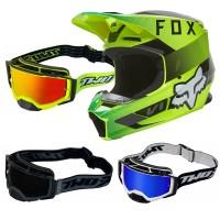 Fox V1 RIDL Crosshelm neon gelb mit TWO-X Atom Brille