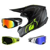 Oneal 10Series Carbon Crosshelm schwarz neon gelb mit TWO-X Rocket Crossbrille