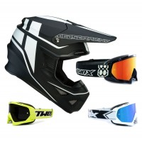 Moose F.I. Session MIPS Crosshelm schwarz weiss inkl. TWO-X Race Crossbrille