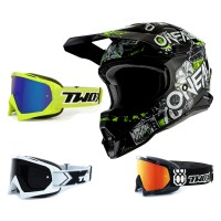 Oneal 3Series Crosshelm Attack 2.0 schwarz neongelb mit TWO-X Race Brille