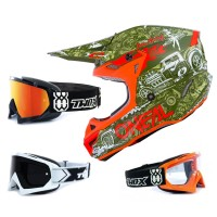 Oneal 5Series Crosshelm HR grün orange mit TWO-X Race Brille