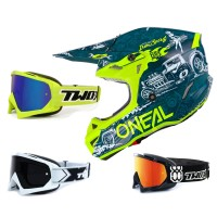 Oneal 5Series Crosshelm HR blau neon gelb mit TWO-X Race Brille