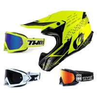Oneal 5Series Crosshelm Trace schwarz neon gelb mit TWO-X Race Brille