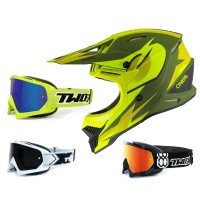 Oneal 3Series Crosshelm Riff 2.0 grün neon gelb mit TWO-X Race Brille