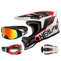 Oneal Blade Carbon IPX Downhill Helm mit TWO-X Rocket Brille in Schwarz, Weiß, Rot