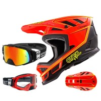 Oneal Blade Charger Downhill Helm neon rot mit TWO-X Rocket Brille