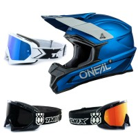 Oneal 1Series Crosshelm Solid blau mit TWO-X Race Brille