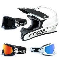 Oneal 1Series Crosshelm Solid weiss mit TWO-X Race Brille