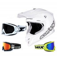 Scorpion VX-16 Air Crosshelm Solid weiss inkl. TWO-X Race Crossbrille in Weiß
