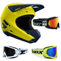 Shift Whit3 MX Helm gelb blau mit TWO-X Race Crossbrille