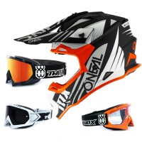 Oneal 2Series Crosshelm Spyde 2.0 schwarz orange mit TWO-X Race Brille
