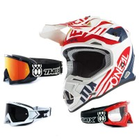 Oneal 2Series Crosshelm Spyde 2.0 weiss rot mit TWO-X Race Brille