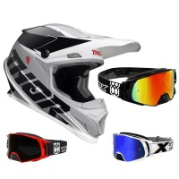 Thor Sector Crosshelm Fader schwarz weiss inkl. TWO-X Rocket Crossbrille