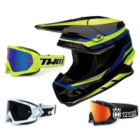 Z1R FI Crosshelm Flank blau gelb mit TWO-X Race Brille