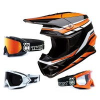 Z1R FI Crosshelm Flank schwarz orange mit TWO-X Race Brille