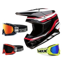 Z1R FI Crosshelm Flank schwarz rot mit TWO-X Race Brille
