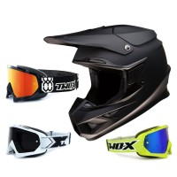 Z1R FI Crosshelm Flat schwarz mit TWO-X Race Brille