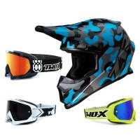 Z1R Rise Crosshelm Camo grau blau mit TWO-X Race Brille