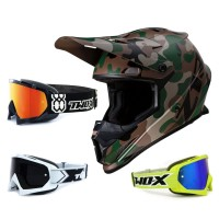 Z1R Rise Crosshelm Camo grün mit TWO-X Race Brille