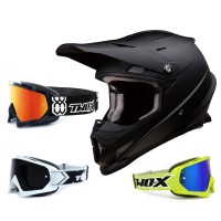 Z1R Rise Crosshelm Flat schwarz mit TWO-X Race Brille